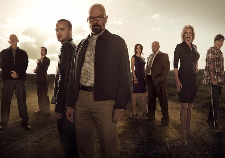 De izquierda a derecha: Jonathan Banks, Bob Odenkirk, Aaron Paul, Bryan Cranston, Betsy Brandt, Dean Norris, Anna Gunn y RJ Mitte