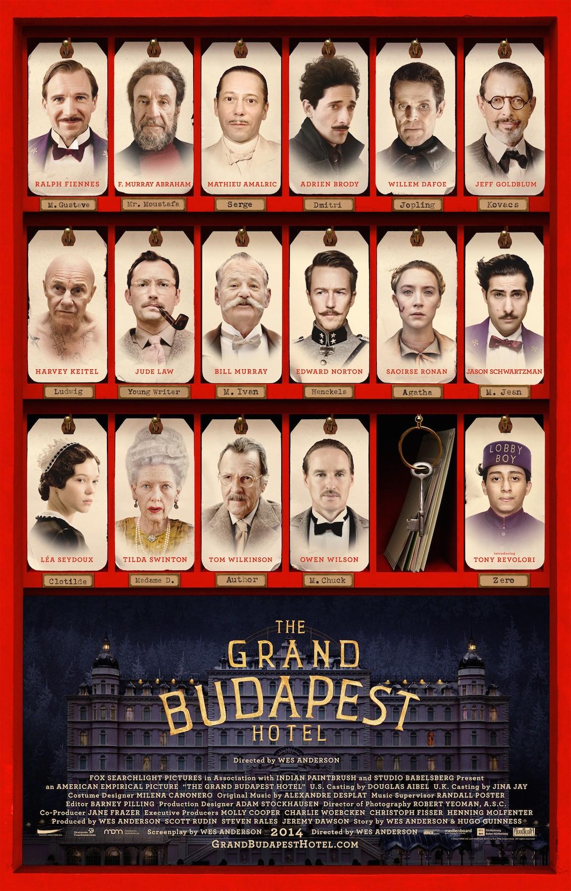 El Gran Hotel Budapest de Wes Anderson con Bill Muray Jude Law Adrien Brody