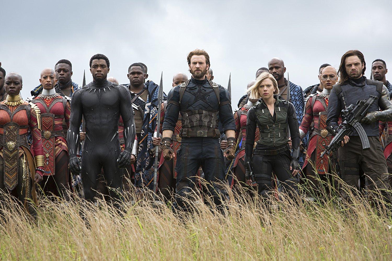 Black Panther, Captain America y Black Widow en Avengers Infinity War
